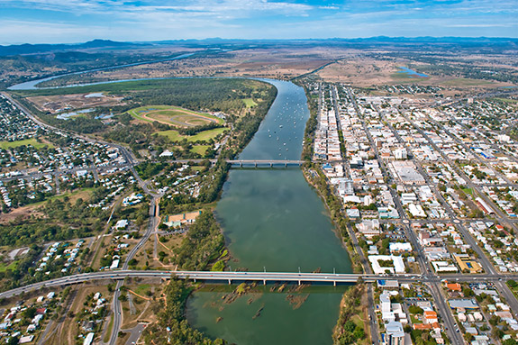 Aerial shot of the  Rockhampton area